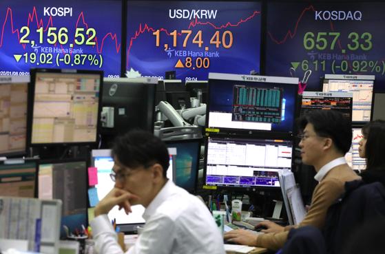 코스피가 하락 출발한 8일 서울 중구 KEB하나은행 딜링룸에서 딜러들이 업무를 시작하고 있다. [연합뉴스]
