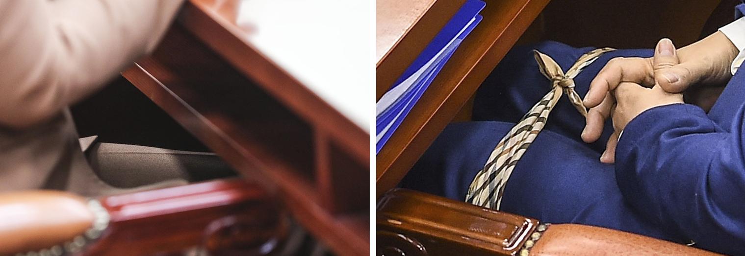 지난해 12월 30일 인사청문회에 출석한 당시 추미애 후보자가 허리를 펴기 위해 다리를 묶고 앉아 화제가 됐다.(오른쪽 사진). 왼쪽은 9일 추미애 법무부 장관이 다리를 묶지 않고 국회 법사위에 출석해 앉아 있는 모습. 김경록 기자