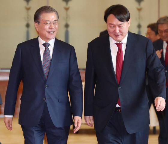문재인 대통령과 윤석열 검찰총장 [청와대 사진 기자단]