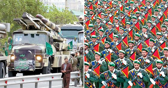 지난해 4월 이란군 퍼레이드에 등장한 혁명수비대 미사일 (왼쪽 사진). 이란 혁명수비대가 군사 퍼레이드에서 행진하고 있다. [EPA·AP=연합뉴스]