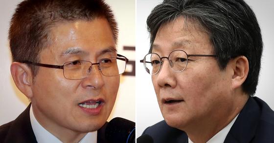 황교안 자유한국당 대표(왼쪽)와 유승민 새로운보수당 의원 [연합뉴스·뉴스1]