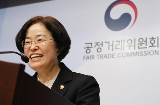 조성욱 공정거래위원장이 지난달 19일 정부세종청사에서 열린 기자간담회에서 발언하고 있다. [연합뉴스]