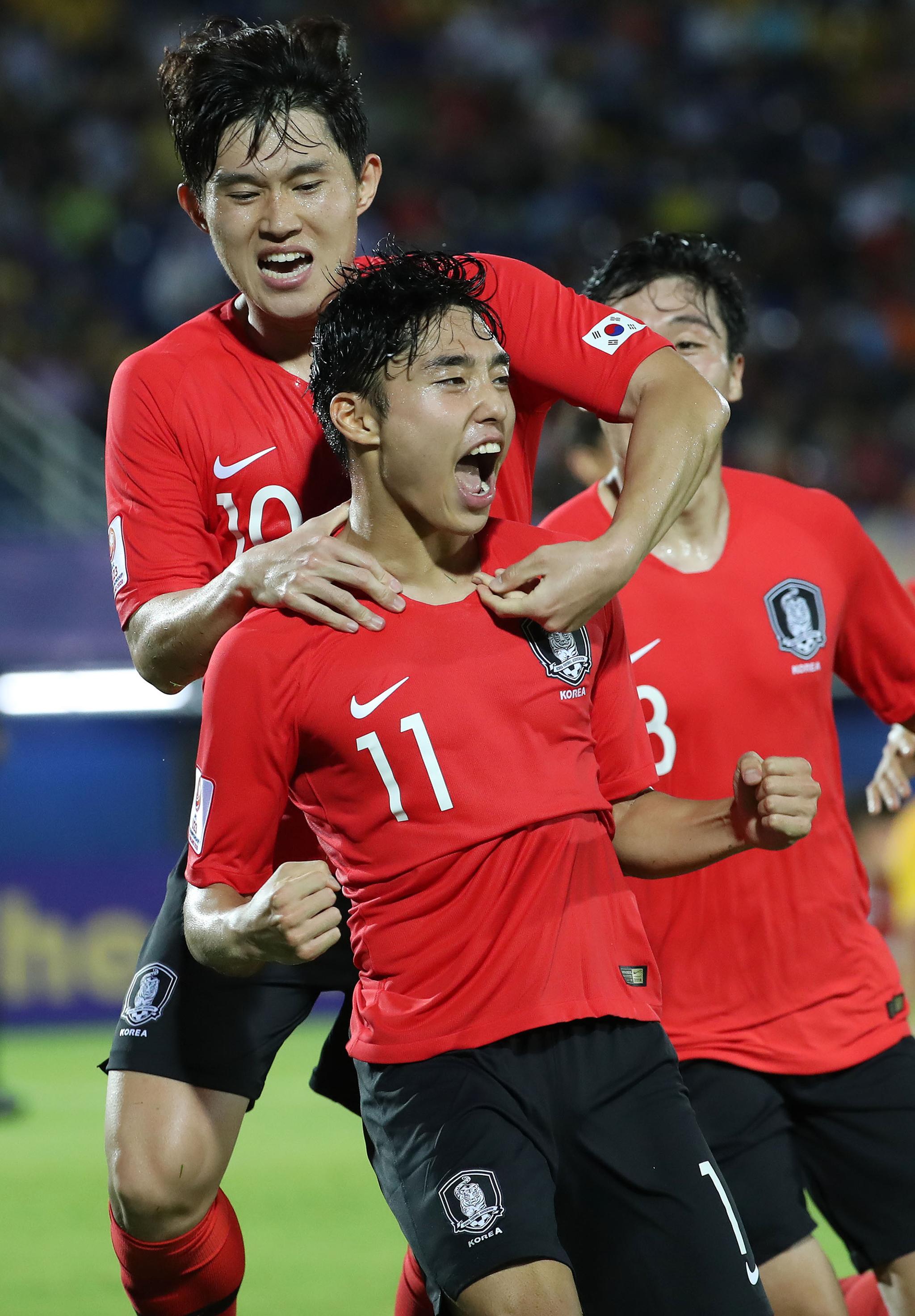9일 태국 송클라 틴술라논 스타디움에서 열린 아시아 U-23 챔피언십 중국과 조별리그 1차전에서 이동준이 후반 추가 시간에 골을 넣은 뒤 환호하고 있다. [연합뉴스]