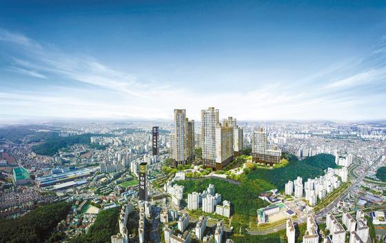 서울 '금관구'에 공급 중인 더블역세권 아파트인 오류동역 트리플하임 조감도. 주변 여기저기에 굵직한 개발호재가 많아 향후 부동산 가격 상승 여지가 크다는 점에서 투자자들의 관심을 끌고 있다.