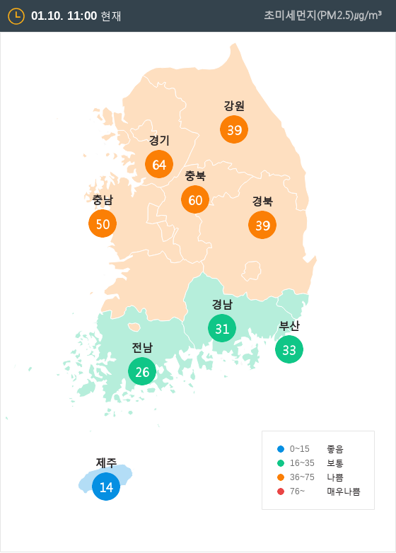 [1월 10일 PM2.5]  오전 11시 전국 초미세먼지 현황