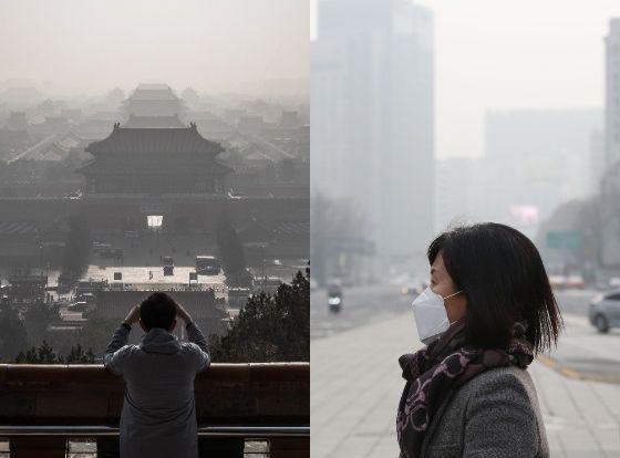 베이징(왼쪽)과 서울의 미세먼지. [EPA, 뉴시스]