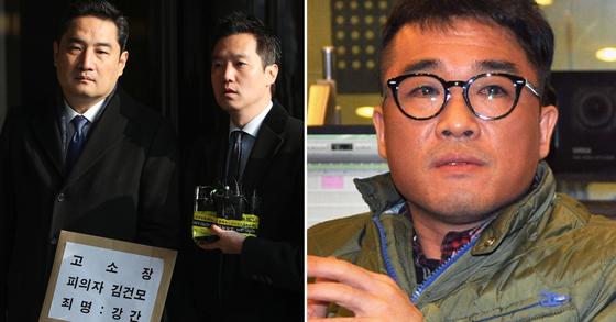 30대 여성 A씨가 법률 대리인인 강용석(맨 왼쪽) 변호사를 통해 가수 김건모(오른쪽)씨를 성폭행 혐의로 고소했다. [연합뉴스]