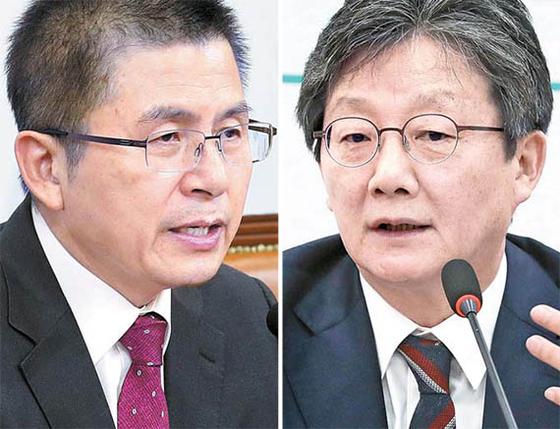 황교안 자유한국당 대표(왼쪽)와 유승민 새로운보수당 보수재건위원장(오른쪽). 임현동 기자, [뉴시스]