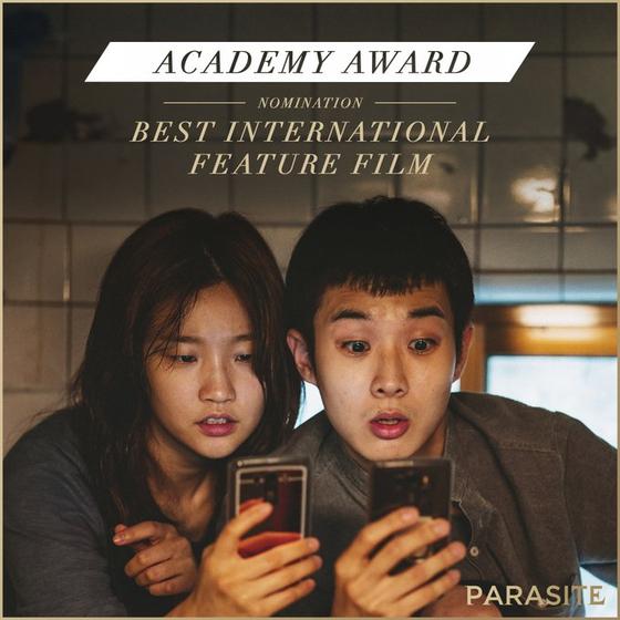 영화 '기생충(PARASITE·봉준호 감독)'이 한국 영화 역사상 최초 미국 아카데미시상식 6개 부문 최종 후보에 노미네이트 됐다. 국제장편영화상(BEST INTERNATIONAL FEATURE FILM) / 사진=NEON 공식 SNS