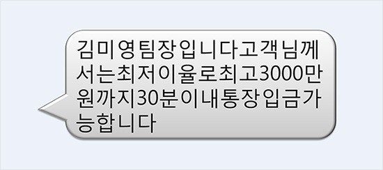 상담인이 '김미영 팀장'으로 돼 있는 대출 권유 문자. 금융 사기로 이어지는 경우가 잦았다.