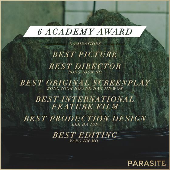 영화 '기생충(PARASITE·봉준호 감독)'이 한국 영화 역사상 최초 미국 아카데미시상식 6개 부문 최종 후보에 노미네이트 됐다. / 사진=NEON 공식 SNS