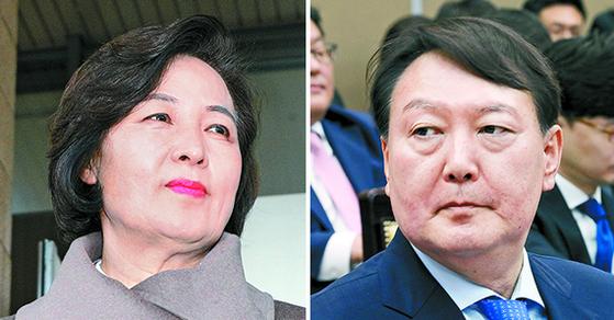 추미애 법무부 장관(왼쪽)과 윤석열 검찰총장. [뉴스1, 뉴시스]