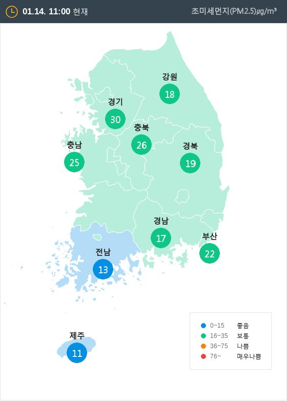 [1월 14일 PM2.5]  오전 11시 전국 초미세먼지 현황