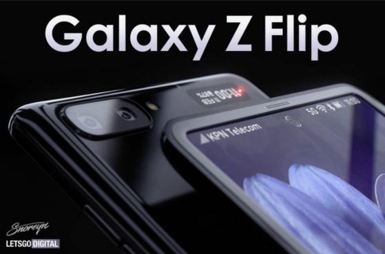 네덜란드 IT 매체 '렛츠고디지털'이 올린 삼성의 두번째 폴더블폰 '갤럭시Z 플립'의 렌더링 이미지.