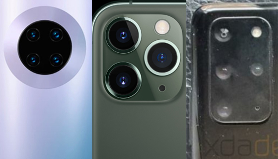 왼쪽부터 화웨이 메이트30 프로, 아이폰11 프로, 다음달 공개될 갤럭시S20(가칭) 중급형 모델의 카메라 모듈.