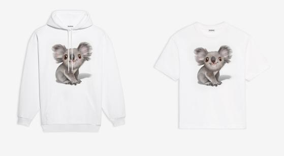 지난 13일 저녁 럭셔리 브랜드 '발렌시아가'가 내놓은 호주 산불 피해 복구 기금 마련을 위한 티셔츠. 모자 달린 후드 티셔츠와 반팔 티셔츠의 두 가지다.  [사진 발렌시아가]