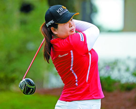 박인비가 LPGA 투어 개막전을 이틀 앞둔 15일(한국시각) 미국 올랜도 포시즌 골프&스포츠 클럽에서 티샷하고 있다. 프리랜서 박태성