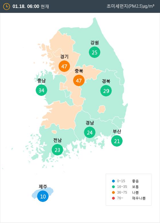 [1월 18일 PM2.5]  오전 6시 전국 초미세먼지 현황