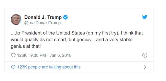 2018년 1월 6일 도널드 트럼프 미국 대통령 트위터에 올라온 글.
