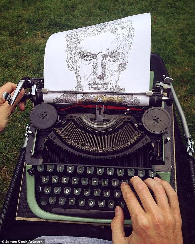타자기로 인물과 풍경화를 그리는 영국 청년 제임스 쿡. [사진 제임스 쿡]