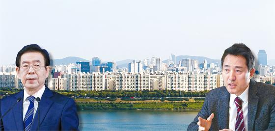 박원순(왼쪽) 서울 시장의 부동산 정책을 오세훈 전 시장이 최근 유튜브 '오세훈TV'에서 작심 비판했다.