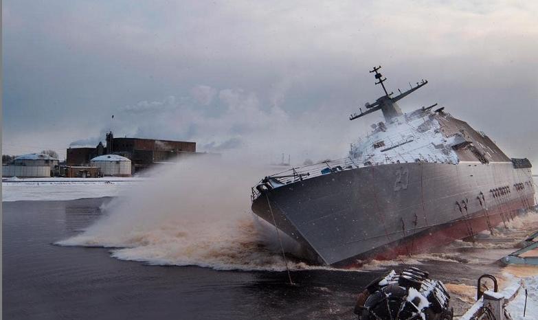 미 해군 차세대 연안전투함인 쿠퍼스타운(LCS-23) 진수식이 19일(현지시간) 미국 위스콘신주 마리에트 조선소에서 열렸다. [트위터]