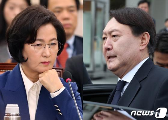 추미애 법무부 장관(왼쪽)과 윤석열 검찰총장. [뉴스1]