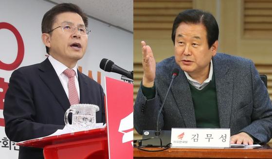 황교안 자유한국당 대표(왼쪽)와 김무성 의원. [연합뉴스]