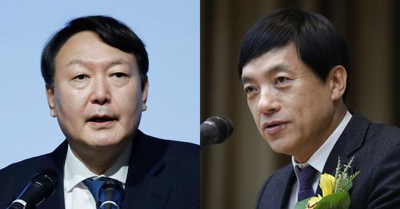 윤석열 검찰총장(왼쪽)과 이성윤 서울중앙지검장. [연합뉴스, 뉴스1]