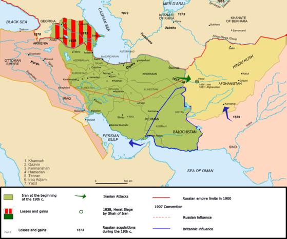 1909년 영국과 러시아는 주권국가인 이란을 러시아 영향권, 영국 영향권, 그리고 중립권으로 삼등분해 관리하기로 합의했다. 아무도 힘없는 이란의 주권을 존중하지 않았다. [위키피디아]