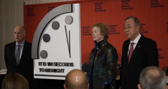 23일 미국 워싱턴 DC에서 100초를 남겨둔 지구종말 시계를 공개했다. [CNN 방송화면 캡처]