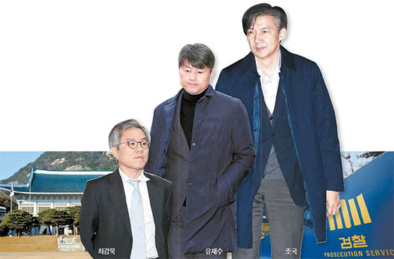 최강욱, 유재수, 조국(왼쪽부터)