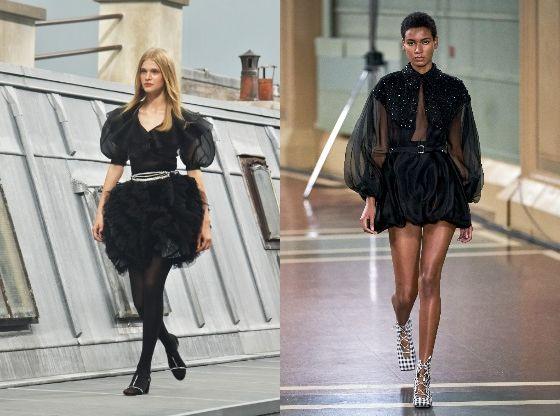 퍼프소매는 로맨틱한 느낌을 연출하고 싶을 때 제격이다. 왼쪽부터 샤넬 2020 봄여름 컬렉션, 에밀리아 윅스테드 2020 봄여름 컬렉션. [사진 각 브랜드]