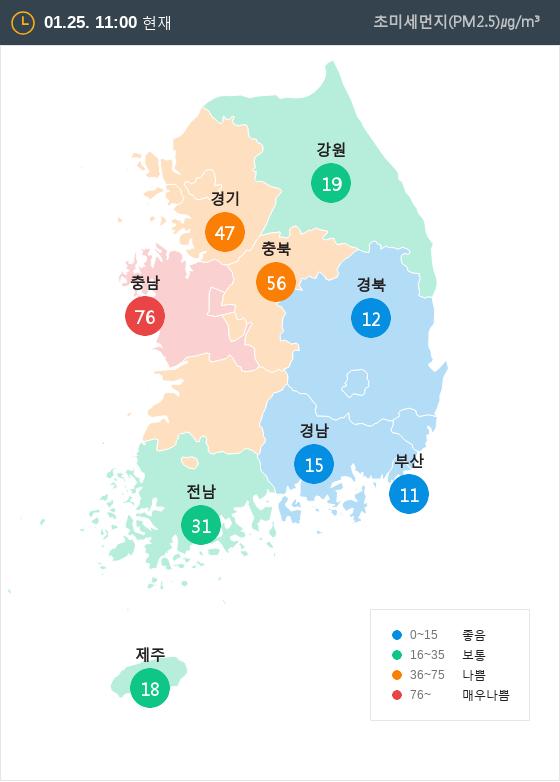 [1월 25일 PM2.5]  오전 11시 전국 초미세먼지 현황
