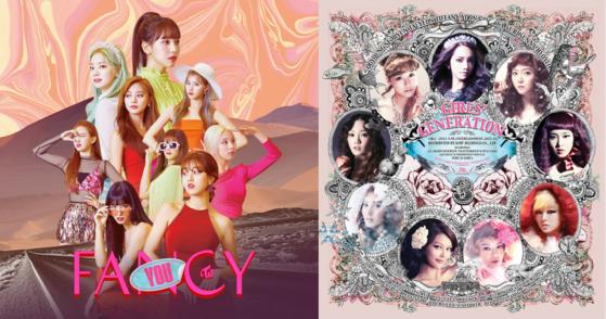 2019년 발매된 트와이스 'FANCY YOU'와 2011년 발매된 소녀시대 'The Boys'