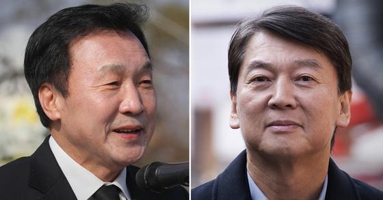 손학규 바른미래당 대표(왼쪽)와 안철수 전 국민의당 대표. [연합뉴스]