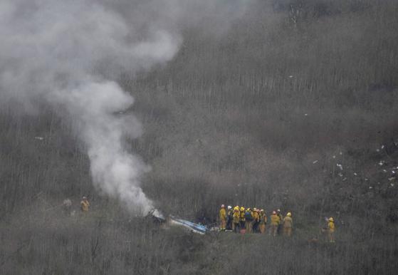 코비 브라이언트가 탑승한 헬기의 잔해. [로이터=연합뉴스]