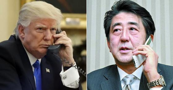 전화 통화하는 도널드 트럼프 미국 대통령과 아베 신조 일본 총리 [AP=연합뉴스]