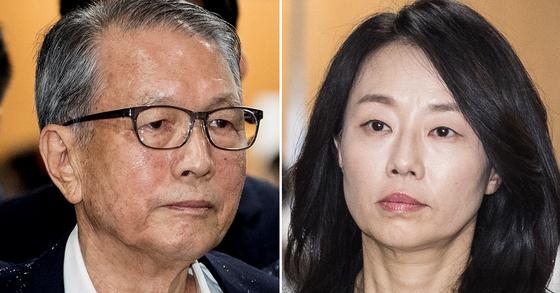 김기춘 전 청와대 비서실장(왼쪽)과 조윤선 전 문체부 장관. [뉴스1]