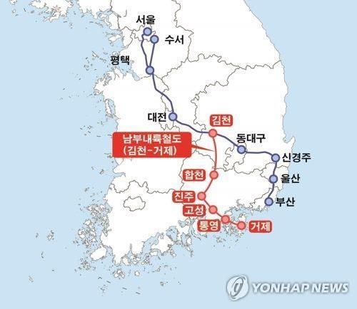한국개발연구원(KDI)이 2017년 작성한 기초용역 보고서상 남북내륙철도 노선도. [연합뉴스]