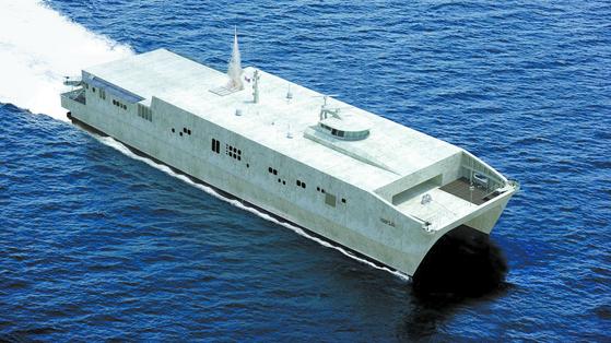 미 해군이 2025년을 목표로 창설할 유령함대의 핵심 전투체계. 사진은 어뢰와 각종 미사일을 탑재할 2000t급 대형 무인수상함.