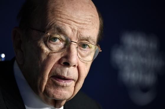 지난 22일 스위스 다보스 포럼에 참석한 윌버 로스 미국 상무장관.[AFP=연합뉴스]
