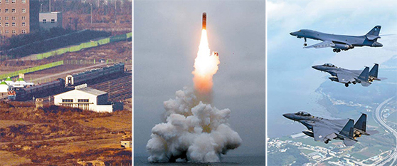 문재인 정부는 남북 경협과 비핵화 협상 등에 나섰으나 성과를 거두지 못하며 '힘에 의한 평화'를 추진해야 한다는 목소리가 높아지고 있다. 왼쪽부터 2018년 12월 북측 판문역에 북측 열차와 나란히 선 남측 열차, 2019년 10월 북한 원산만에서 발사된 잠수함발사탄도미사일 북극성 3호, 2017년 7월 미국 공군 전략폭격기 B-1B 랜서(위)와 한국 공군 F-15K. [중앙포토]