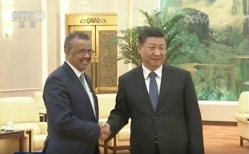 지난 28일 시진핑(오른쪽) 중국 국가주석을 만나는 테드로스 아드하놈 게브레예수스 세계보건기구(WHO) 사무총장. 최근 WHO는 중국 비호 논란에 휘말렸다. [연합뉴스]