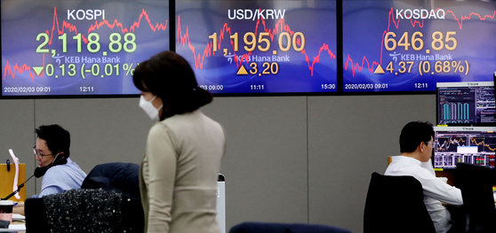 코스피가 사흘 연속 하락세로 마감한 3일 오후 서울 중구 하나은행 딜링룸에서 직원들이 업무를 보고 있다. [연합뉴스]