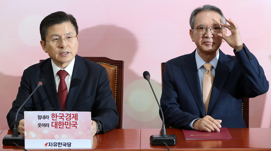황교안 자유한국당 대표(왼쪽)와 김형오 공천관리위원장(오른쪽) [뉴스1]