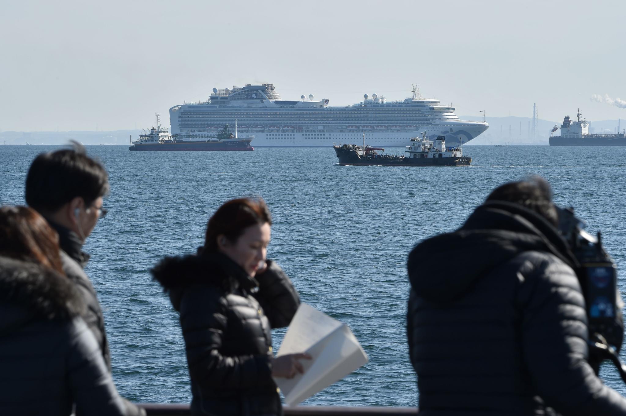 5일 요코하마 항 앞바다에 정박 중인 다이아몬드 프린세스호. [AFP=연합뉴스]