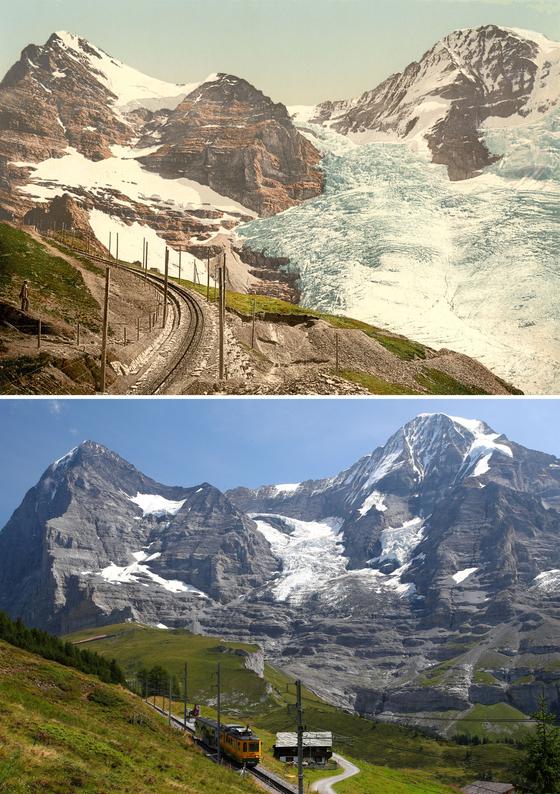 스위스 웽겐 지방 빙하의 1800년대와 2019년 사진. 기후변화로 인해 빙하가 녹는 현상이 전 지구적으로 일어나고 있고, 세계 각 나라는 올해까지 UN에 온실가스 감축 계획을 제출해야 한다. 우리나라가 제출할 감축계획의 근본이 될 전문가 의견이 5일 발표됐다. [REUTERS=연합뉴스]