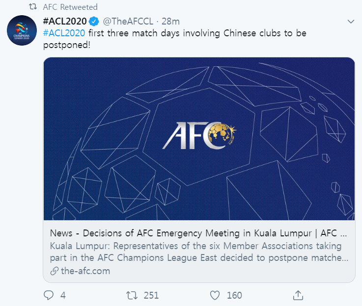 신종 코로나바이러스 여파로 AFC 챔피언스리그 일정이 변경됐다. [사진 AFC 트위터]