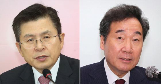 황교안 자유한국당 대표(왼쪽)과 이낙연 전 국무총리. [연합뉴스·뉴스1]